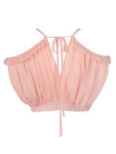 Pink Sweetheart Ruffle Detail V Back Crop Top | Choies