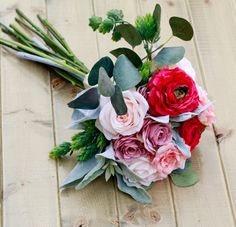 Silk Spring Blush Pink and Fuchsia Wedding Bouquet with Roses and Ranunculus
