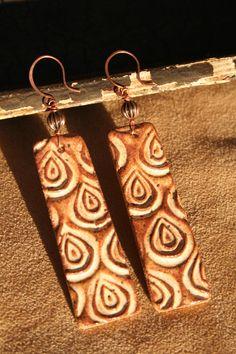Stamped Ceramic Earrings