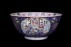 Chinese Canton Rose Medallion Blue And White Chinese Courtyard Bowl