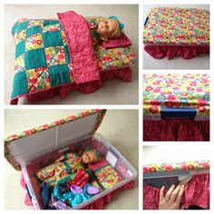 Super cool doll bed idea!  Use a storage box that will store the doll stuff, and cover it with full bedding accessories!