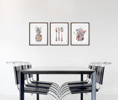 Modern Watercolor Painting, Colorful Kitchen Art Print Set of 3 - Pineapple, Fork Knife Spoon, Coffee Pot, Minimalist Art - Home Decor Gifts