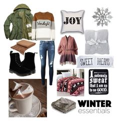 winter is coming by skinnywaists-drughabbits on Polyvore featuring River Island, AG Adriano Goldschmied, Dr. Martens, Barefoot Dreams, The Rise and Fall and Dot & Bo
