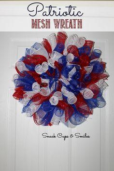 Patriotic Mesh Ribbon Wreath for July 4th