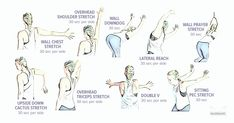 If sitting at a desk all day leaves you hunched forward, grab the nearest wall and stretch out those tight shoulders to loosen up your muscles and ease pain