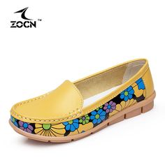 ZOCN New Arrive Ballet Flats Women Shoes Woman Flats Loafers Four Seasons 2016 Fashion Genuine Leather Shoes Mother Casual Shoes