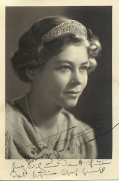 A young Queen Frederika of Greece wearing her mother Viktoria Luise's tiara