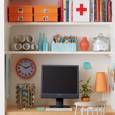 Show your desk who's boss with 13 easy ideas for getting—and staying—organized. Plus: 2 budget-friendlyways tocreate anorganized, small-spaceworkstation—even if you think you have no room for a home office!