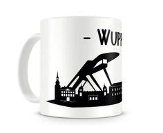 Tasse Wuppertal Skyline. Eine Tasse bedruckt mit der Skyline von Wuppertal