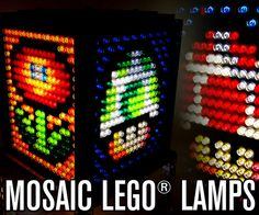 How to: Mosaic Lego lamps. Not just the Lego part, but also the electrical part. Lego Mosaic, Mosaic Diy, Lego Projects, Projects To Try, Legos, Lego Room Decor, Yoshi, Minifigures Lego, Gaming