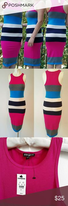 Multi Express Tank Dress.  Multi Striped Express Tank Medium Dress never been worn 62% polyester, 32% Rayon, 6% spandex. 41 inches long, 26 inches in the bust, 28 inches in the waist Express Dresses Midi