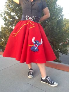 Oh, good! My dog found a chainsaw! Lassie, hes not. Or even Tramp. But Stitch is a favorite around here all the same. This skirt is a womens