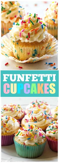 Easy Cake : Funfetti Cupcakes ~ made from scratch . these homemade cupcakes ar. Easy Cake : Funfetti Cupcakes ~ made from scratch … these homemade cupcakes are …, # Frost Cupcakes, Fondant Cupcakes, Twix Cupcakes, Cupcakes Cool, Sprinkle Cupcakes, Vanilla Cupcakes, Cupcake Cakes, Lemon Cupcakes, Birthday Cupcakes