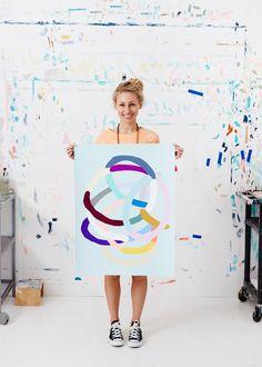 Kirra Jamison with one of her beautiful 'Loops' series paintings
