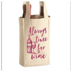 """⭐️DIVIDER INSIDE! """"...Wine"""" padded totes! POSH EXCLUSIVE! """"Always Time for Wine"""" padded totes! These high quality totes make the perfect gift. Cream color with fuchsia ( Wine colored) lettering and graphic. These have a padded divider, are made of strong canvas, washable and cute! Take one to the host or hostess at your next party, they will love it! ECO Friendly too.See all details in photos above. Bundle and SAVE! Price firm unless bundled. Salt Lake Clothing Bags Totes"""