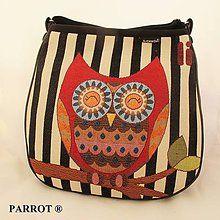 Kabelky - Hand made bag * Kambodža * striped owl * PARROT® - 6272564_