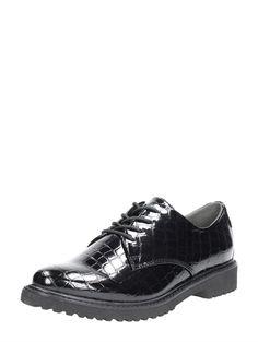 Marco Tozzi moderne lak veterschoenen voor dames - zwart
