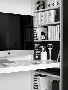 Love this monochrome home office! #love