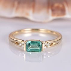 Natural emerald engagement ring solid 14k yellow gold 4x5mm emerald cut natural stone diamond band east to west style ring promise by PENNIjewel on Etsy