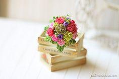 Dollhouse Miniature Flowers Summer Bouquet by miniaturepatisserie