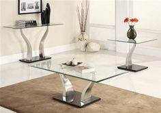 Atkins Chrome Wood Glass Coffee Table Set