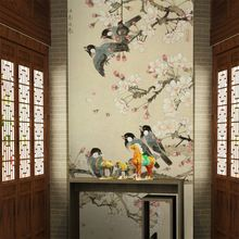 Gratis Verzending grote woonkamer entree muurschildering behang Chinese klassieke vogel behang(China (Mainland))