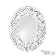Package: 1 EA A silvery mosaic makes this oval wall mirror a beautiful and…