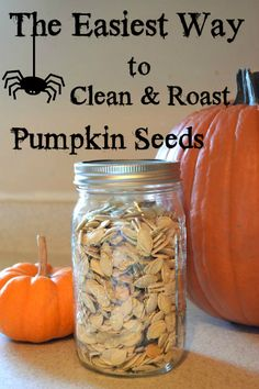 With every jack-o-lantern comes an excess of pumpkin seeds. Flour On My Face has easy instructions to clean and roast pumpkin seeds. It's a simple, tasty snack for the fall season! Pumpkin Recipes, Fall Recipes, Holiday Recipes, Snack Recipes, Cooking Recipes, Roasting Pumpkin Seeds Recipe, How To Roast Pumpkin, Pumpkin Guts Recipe, Cooking Pumpkin Seeds