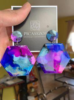 Mismatch Purple /& Blue Galaxy Inspired Hand-Poured Drop Dangle Resin Earrings