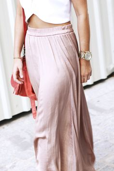 I love the crop top with a high waisted maxi skirt, as long as the maxi skirt is flowy and not cheap looking jersey material.