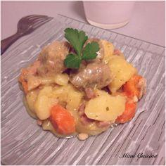 Sauté de porc sauce Roquefort et ses pommes de terre carottes