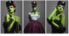 Green vintage Women's Frankenstein Costume and Make Up Frankenstein Makeup, Frankenstein Costume, Bride Of Frankenstein, Halloween Cosplay, Halloween Make Up, Halloween Party, Halloween Costumes, Halloween Ideas, Halloween 2013