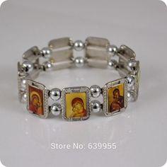 2x Orthodox Icon Rosary Beads Bracelet JESUS Virgin Mary Fashion Religious Jewelry Alloy Elastic Bracelets