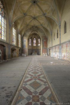 Portrait view of chapel downstairs Adam X Urbex UE Urban Exploration Germany Kent School Saint Sint St Jozefsheim chapel church abandoned derelict unused empty disused decay decayed decaying grimy grime