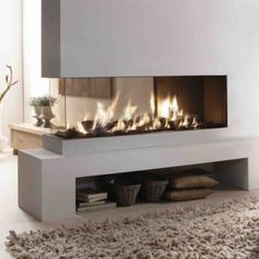 Fireplace space divider. Neutral colors
