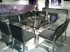 Square, Chrome, Glass & Gray and perfect combo! NCA Design #HPmkt #Dining