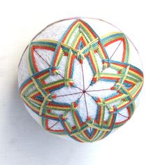 Temari Ball Ornament Japanese Thread Ball Handmade Temari Collectible Wrapped in a Take-Out Box