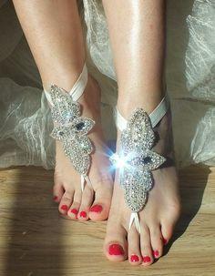 Rhinestone anklet Beach wedding barefoot sandals by WEDDINGGloves, $49.00