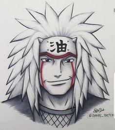 Sewoch on Pikomit : Jiraya 💜 ! Naruto Drawings, Naruto Sketch Drawing, Kakashi Drawing, Anime Drawings Sketches, Anime Sketch, Pencil Drawings, Anime Naruto, Fan Art Naruto, Naruto Shippuden Sasuke