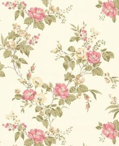 Bloom Pink Rose Trail Wallpaper - traditional - wallpaper - Brewster Home Fashions
