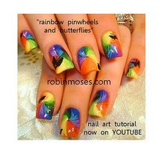 Rainbow Pinwheels w/Butterflies by Robin Moses