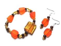 Harvest Yellow Gold Orange Beaded Bracelet and by MoseyRoseDesigns, $16.50