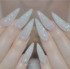 White glitter stiletto nails
