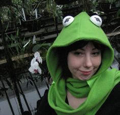 Items similar to Fleece Scoodie - Kermit the Frog - Muppets - Hooded Scarf - Rainbow Connection on Etsy Kermit The Frog Costume, Die Muppets, Frog Crafts, Muppet Babies, Diy Costumes, Crazy Costumes, Rainbow Connection, Hooded Scarf, The Fox And The Hound