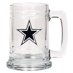 WeddingDepot.com ~ NFL Cowboys Mug with Pewter Medallion ~ Your favorite Cowboys armchair quarterback can toast all of his team's touchdowns with this Personalized Officially Licensed NFL emblem mug.