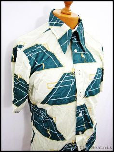 Vintage 1970s 70s AWESOME DISCO Mod Flags Cool Pattern Shirt Medium | eBay