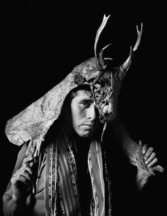 Nahual Man, Guatemala,  1993.  The Aztec word for Nahual is nahualli, meaning what is my clothing or skin, and refers to the ability of Nahual to become a creature half man, half animal ( wolf, jaguar, lynx, bull, eagle, coyote ...).