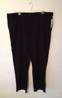 NWT! ST. JOHN'S BAY Men's Relaxed Fit Plain Front Pants Slacks Black 50x32 #StJohnsBay #CasualPants #bigandtall #big #tall #pants #relaxedfit #50x32