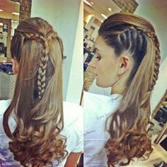 Long braided hairstyles, up hairstyles, pretty hairstyles, faux hawk ha Love Hair, Great Hair, Gorgeous Hair, Up Hairstyles, Pretty Hairstyles, Braided Hairstyles, Braided Updo, Curly Hairstyle, Wedding Hairstyles
