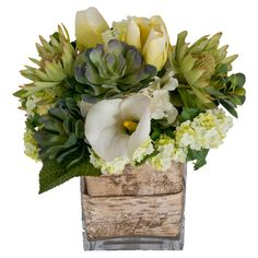 Faux floral and succulent arrangement in a birch bark-lined vase.   Product: Faux botanical arrangementConstruction M...